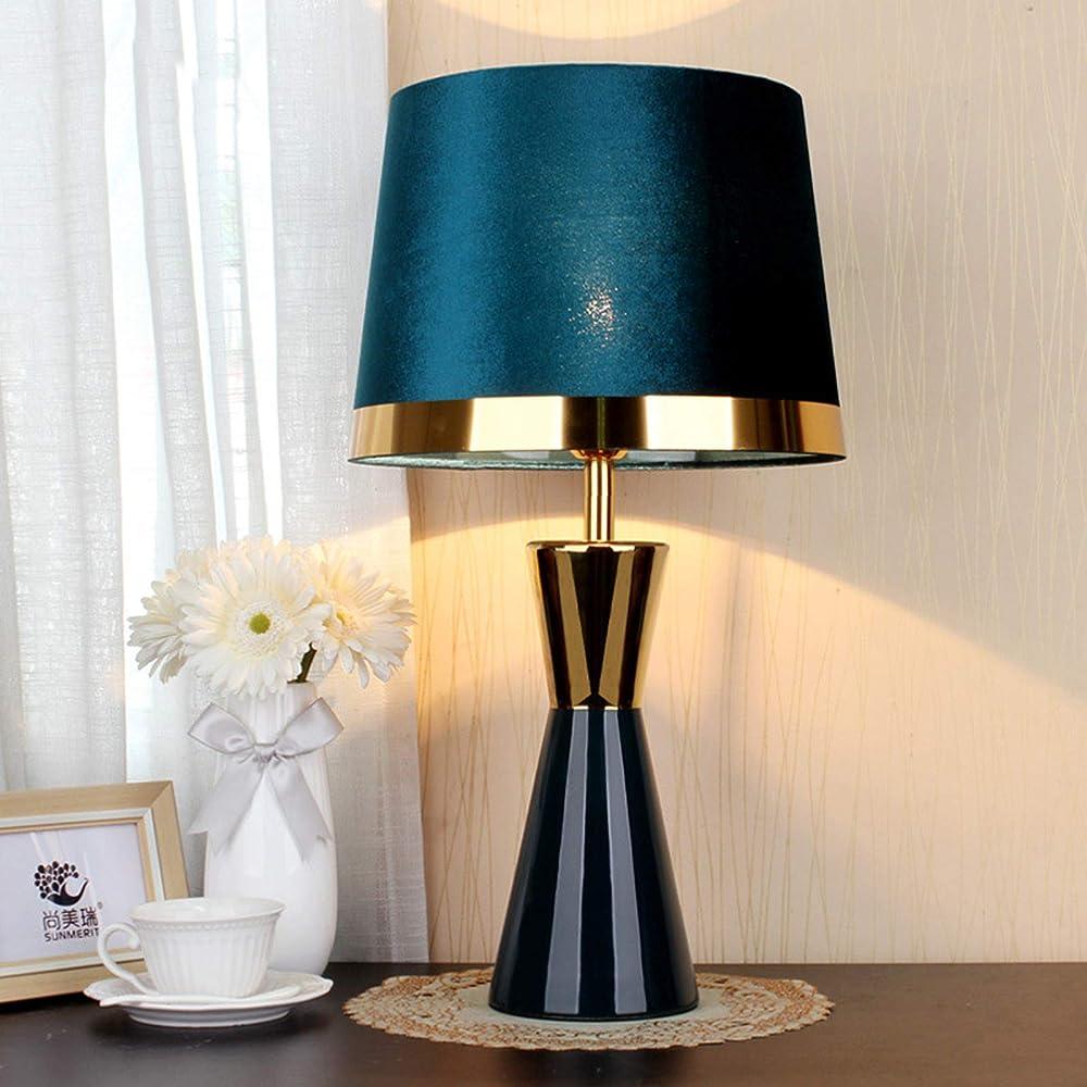 Hkly, moderna lampada da tavolo, in ceramica, con paralume in tessuto 332-621-047C
