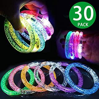 Infinity 6 30 Pack Glow Bracelets,6 Color LED Bracelets for Kids and Adults in The Dark Party Favors, LED Bracelets Light Up Party Favors Glow Toys Supplies for Halloween, Thanksgiving Party
