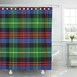Emvency Shower Curtain Blue British Scottish Tartan Black Watch Plaid Green Abstract Shower Curtains Sets with Hooks 60 x 72 Inches Waterproof Polyester Fabric