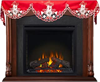 Linens, Art and Things Christmas Embroidered White Candle on Red Bookshelf or Fireplace Mantle Scarf 19 X 90 Inches