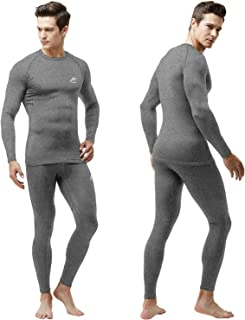 MeetHoo Men's Thermal Underwear,  Compression Base Layer Set Fleece Lined Long Johns Winter Gear for Running Skiing
