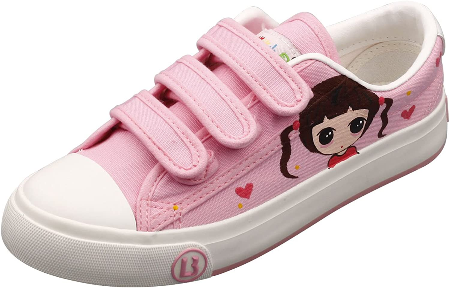 E-LOV Pink Cartoon Long Hair Big Eyes Girl Hand-Painted Canvas shoes Low Cut Sneakers Hook and Loop Strap Personalized Casual shoes for Women and Men