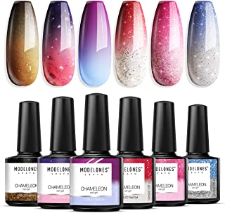 Modelones Mood Gel Nail Polish Set Temperature Color Changing Gel Colors Collection Red Blue Glitter Gel Polish Soak Off 6...