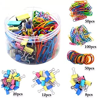 VictoMe 240 Pieces Assorted Colored Large/Medium/Small Binder Clips,Jumbo/Small Paper Clips,Rubber Bands,Paper Clamps Foldback Clips for Office School Home Document Organizing Daily DIY Use