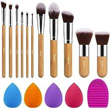 Syntus Makeup Brush Set, 11 Makeup Brushes & 4 Blender Sponges & 1 Brush Cleaner Premium Synthetic Foundation Powder Kabuki Blush Concealer Eye Shadow Makeup Brush Kit, Bamboo