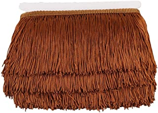 Heartwish268 Fringe Trim Lace Polyerter Fibre Tassel 4inch Wide 10 Yards Long for Clothes Accessories Latin Wedding Dress DIY Lamp Shade Decoration Black (Coffee)