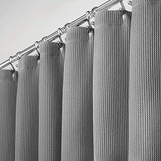mDesign Cortinas para baño 100% algodón – Cortinas de ducha bonitas y estructuradas – Cortinas de baño de diseño y de cuidado fácil – gris