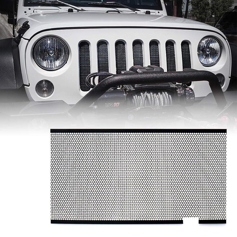 Xprite Black Stainless Steel Mesh Insert For Jeep Wrangler JK JKU 2007-2018 Original Front Hood Matte Grill Grille Grid