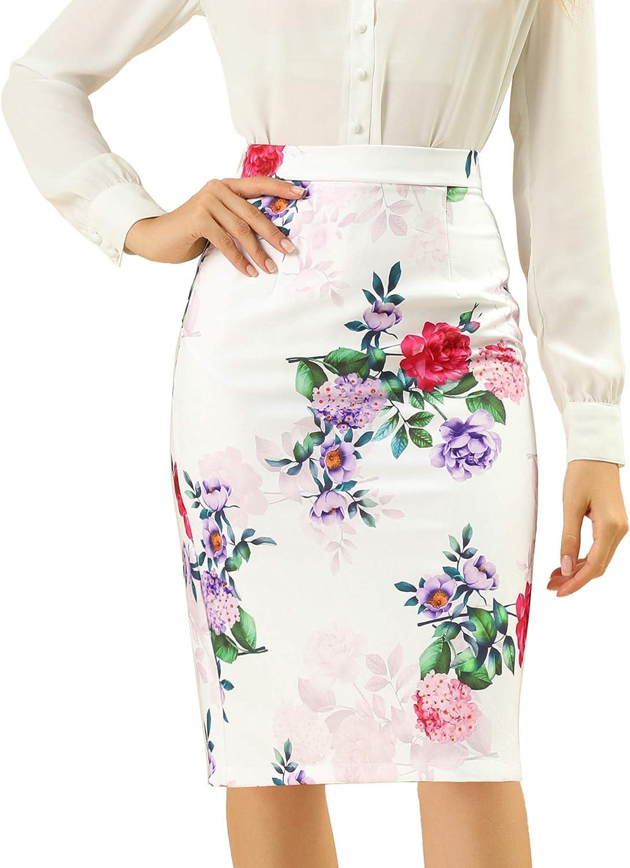 Allegra K Women's Floral Elastic Waistband Bodycon Pencil Skirt with Back Slit