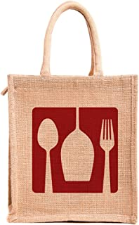 H&B Printed Jute Tote bags with zip for lunch for men medium size (Print: Dine 3-Rectangle, Size: 11x10x6 Inch , Beige )