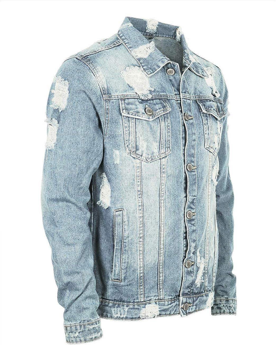 URBANJ Men's Distressed Denim Jacket