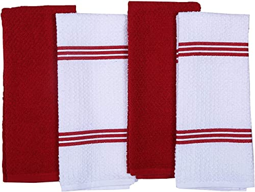 CASA DECORS Cotton Kitchen Dish Towel (Set of 4, Red)