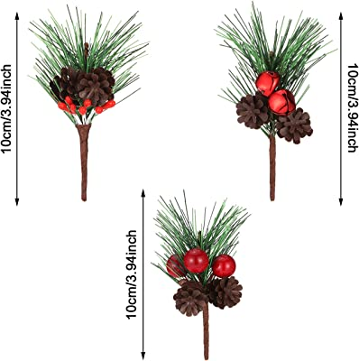 WILLBOND Artificial Pine Picks Small Fake Red Berries Pinecones Artificial Pine Tree for Wedding Arrangements Wreaths Christmas Tree Decorations 20 Pieces