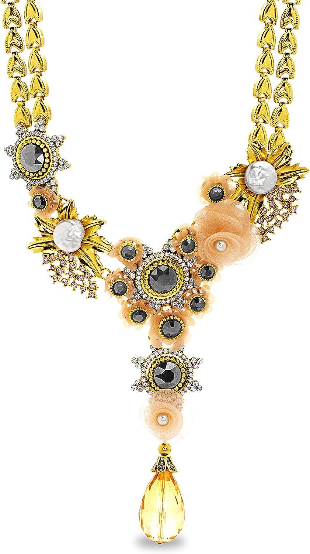 Badgley Mischka Rhinestone Teardrop Simulated Pearl Sunburst Sequin Yellow Flower Statement Necklace for Women Adjustable 16 - 19 Inches