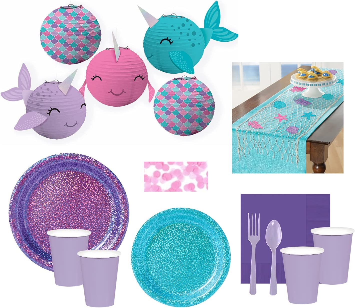 Narwhal Party Supplies and Decoration Set - 16 Guests Japan's Max 88% OFF largest assortment Includ for