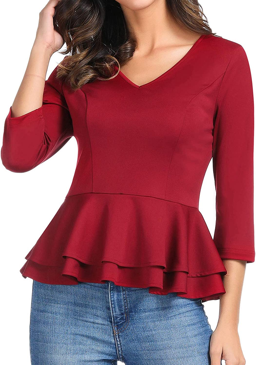 GRACE KARIN Women's Casual 3 4 Sleeve VNeck Stretchy Ruffled TShirt Top Blouse
