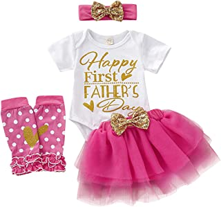 WISWELL Baby Girl Skirt Set Infant Girls Happy First Father's Day Romper + Lace Tutu Skirt 4PCS Summer Outfits