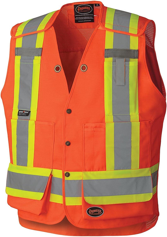 Pioneer High Visibility 5 Point TearAway Surveyor Safety Vest, ExtraLong Back, orange, M, V1010850M