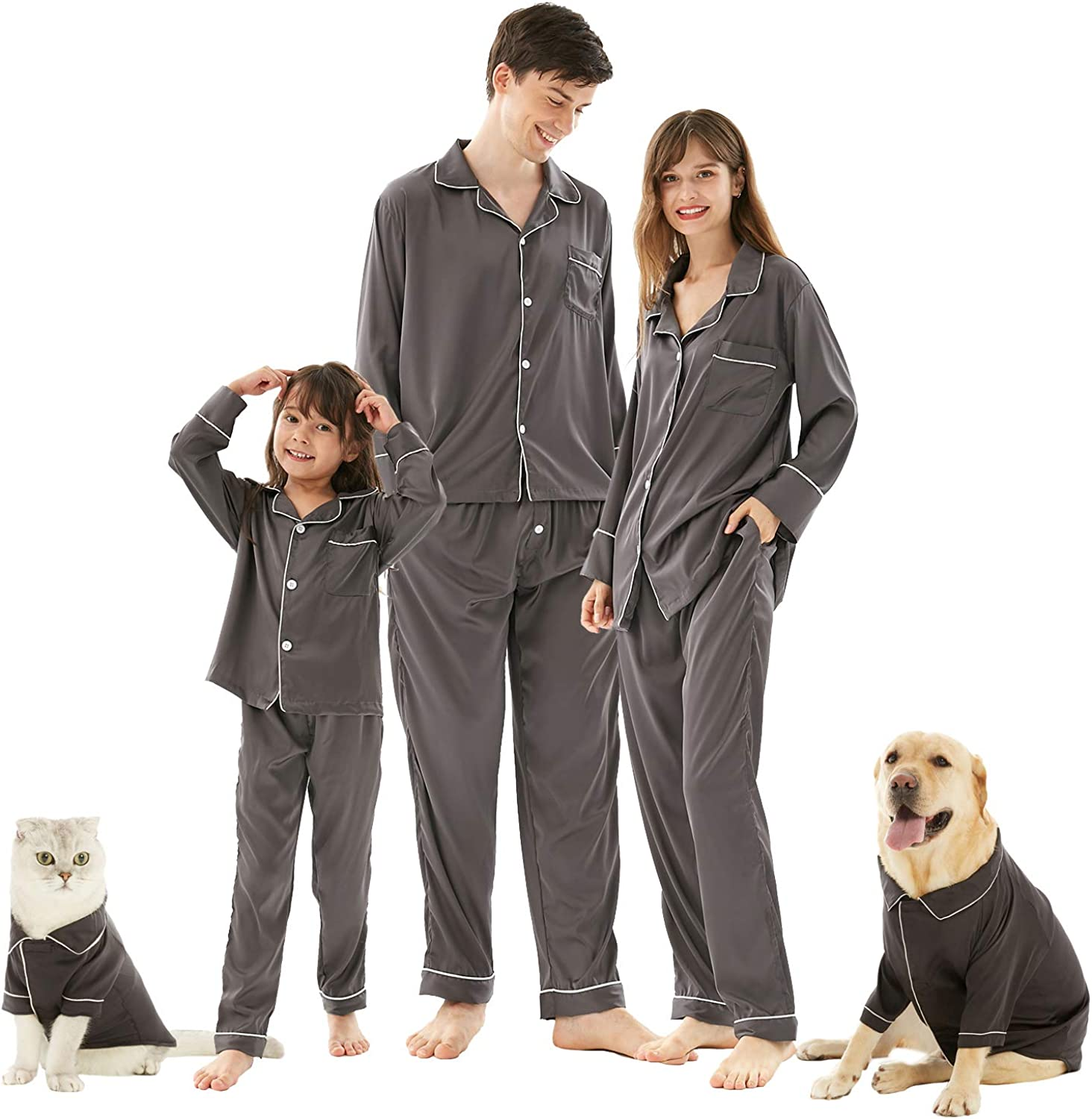 Mens Pajama Set, Silk Soft Satin Comfort Long Sleeves 2-Pieces Pajamas Set Sleepwear Pjs for Indoor Home Christmas for Family Matching Size M Gray