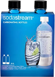 SodaStream 2-Pack Carbonating Bottle, 1-Liter, Black