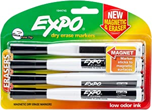 EXPO 1944745 Magnetic Dry Erase Markers with Eraser, Fine Tip, Black, 4-Count