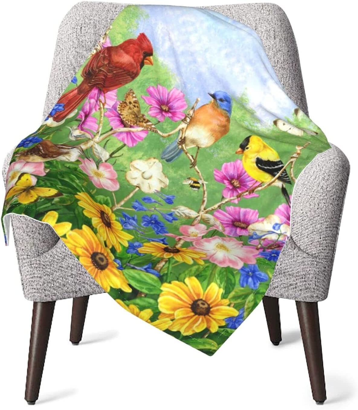 Duduho Rustic Flowers Birds Ranking TOP14 Butterfly Warm Translated Blankets Baby Soft Fu