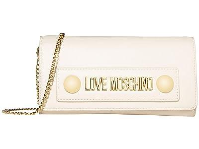 LOVE Moschino Love Log Stud Chain Wallet (Ivory Small Grain PU) Handbags