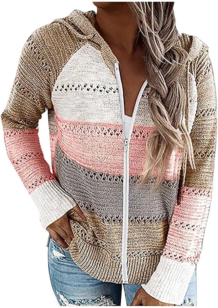 soyienma Pullover Sweaters for Women,Long Sleeve Knit Sweater V Neck Pullover Color Block Hooded Sweatshirt