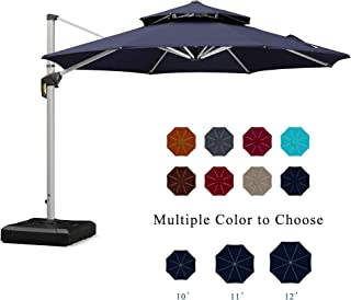 PURPLE LEAF 11 Feet Double Top Round Deluxe Patio Umbrella Offset Hanging Umbrella Outdoor Market Umbrella Garden Umbrella, Navy Blue