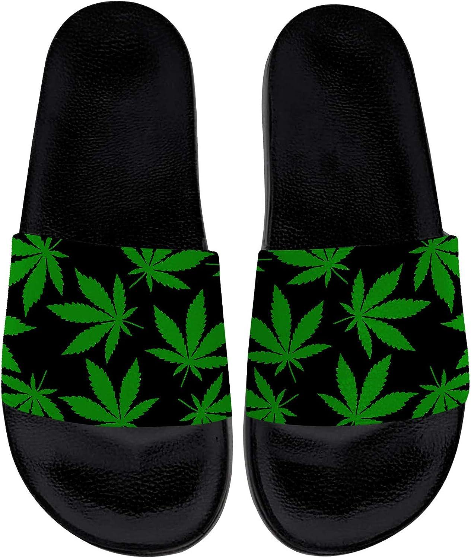 Marijuana Slides Womens Mens Sport Slides Athletic Slippers Sandals Indoor Outdoor Beach Shower Shoes