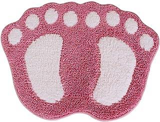 Non Slip Bath Mat Big Feet Bathroom Shower Rugs Shaggy Carpet Absorbent Doormat Floor Mat (40 * 60CM) (Pink)