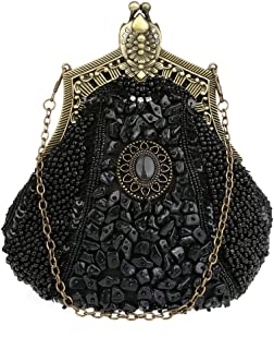 KAXIDY Damen Samen-Perlen Abendtasche Hochzeit Bead-hand-knit Abschlussball Party-Abend Handtasche