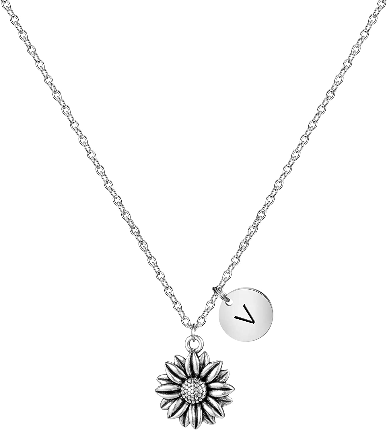 MEMGIFT Silver Sunflower Necklace Your are My Sunshine Jewelry Personalized Initial Letter Charm Pendant Unique Gifts for Mothers Day Christmas Birthday