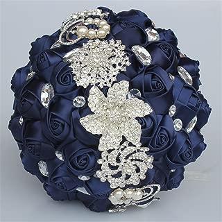 USIX Handcraft Crystal Satin Rose Brooch Bridal Holding Wedding Bouquet Brooch Bouquet, Lace Decorated Bouquet, Wedding Flower Arrangements Bridesmaid Bouquet(Navy)