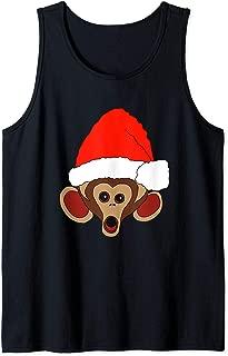 Funny Monkey In Santa Hat Christmas Design Tank Top
