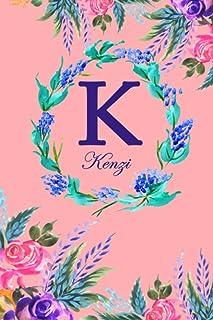 K: Kenzi: Kenzi Monogrammed Personalised Custom Name Daily Planner / Organiser / To Do List - 6x9 - Letter K Monogram - Pi...