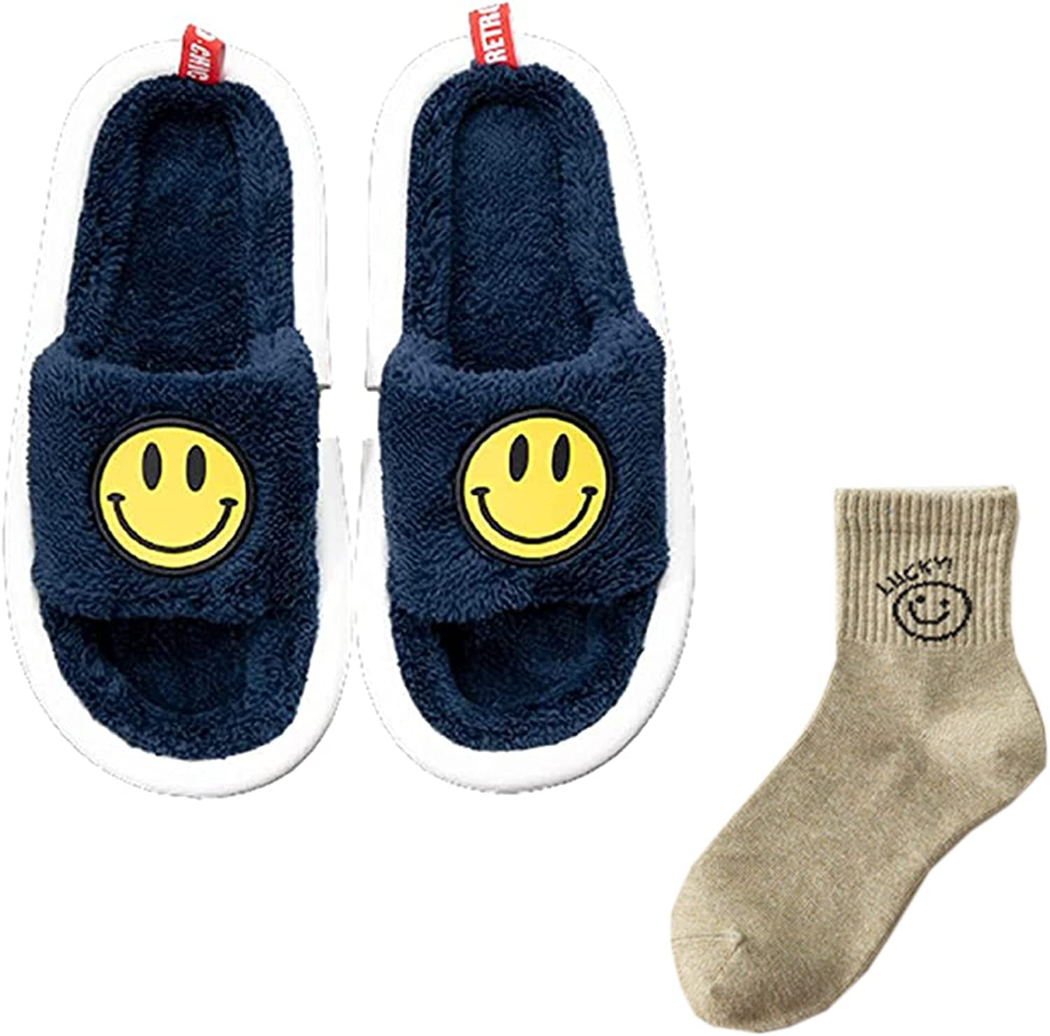 New Smiley shop Face Slippers Women's Retro New mail order Cute Open Toe Fluffy Smil
