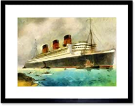 Painting Maritime RMS Queen Mary Liner Cruise Ship Framed Print F12X6242