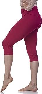 Lush Moda Women's Basic Capri Leggings with Yoga Waist- Extra Soft and Variety of Colors - Magenta