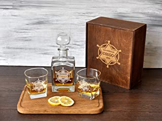 Personalized Whiskey Decanter Set Sheriff Police Gift Best Man Gift Set Etched Whiskey Glass Wedding Gift Father Bride Gif...