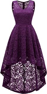 Women's Homecoming Dress V-Neck Floral Lace Hi-Lo Cocktail Party Dress