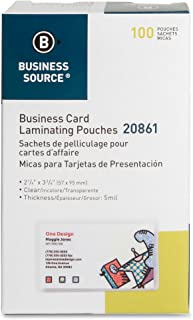 Business Source Business Card Laminating Pouches - Box of 100