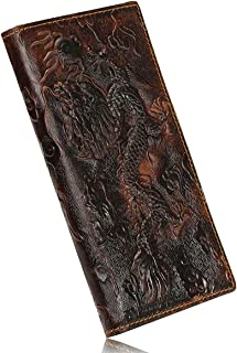 OURBAG Men's Genuine Leather Business Long Bifold Wallet Purse Dragon Pattern