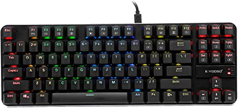 E-Yooso K630 Mechanical Keyboard RGB Backlit Wired Gaming Keyboard Extra-Thin & Light, Latest Low Profile Blue Switches, 8...