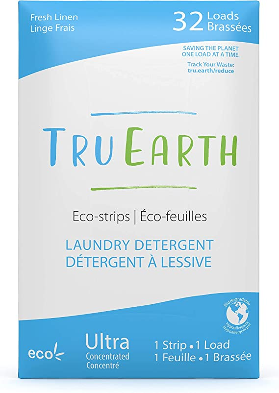 Tru Earth Hypoallergenic, Eco-friendly & Biodegradable Plastic-Free Laundry Detergent Sheets/Eco-Strips for Sensitive Skin (32 Loads, Fresh Linen)