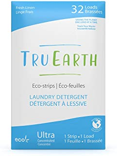 Tru Earth Eco-friendly Ultra Concentrated Compostable & Biodegradable Plastic-Free Laundry Detergent Eco-Strips (32 Loads,...