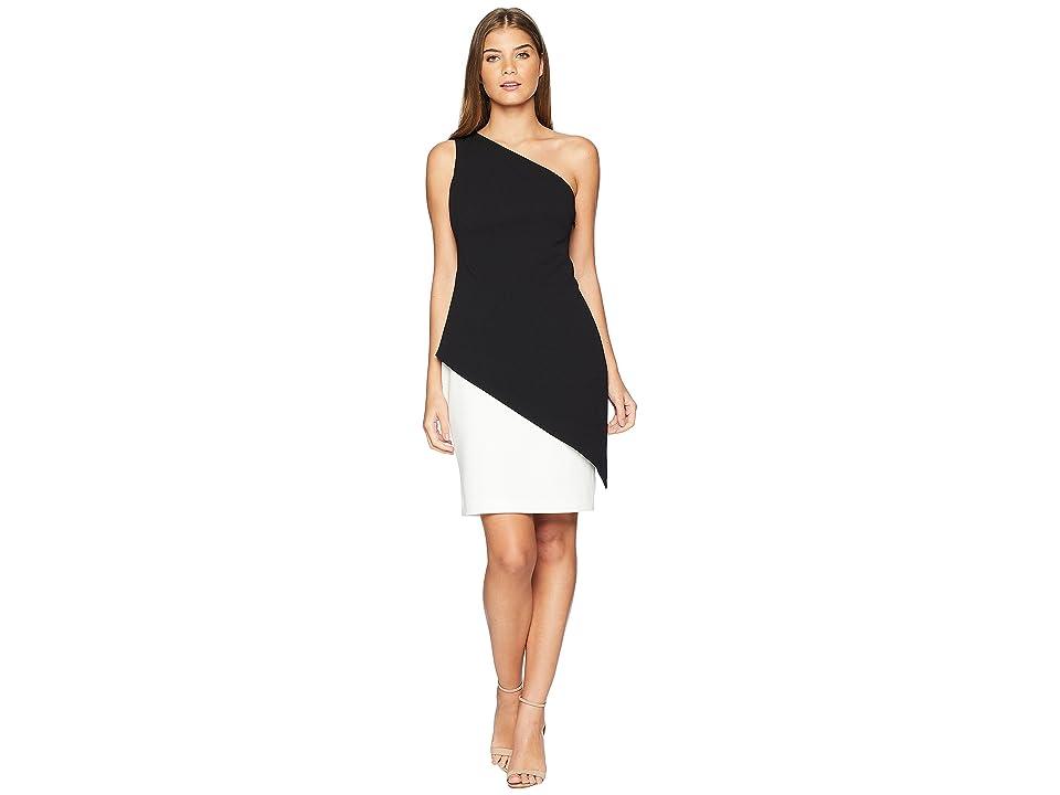 LAUREN Ralph Lauren Jayke One Shoulder Day Dress (Black/Cream) Women