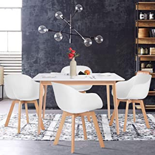 Yata Home - Mesa de Comedor Rectangular de 4 a 6 Personas, Color Blanco y Patas de Madera de Haya, 120 x 70 cm