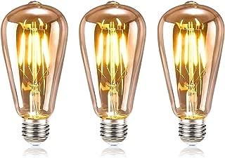 Edison Vintage Gl/ühbirne Samione Warmwei/ß E27 LED Lampe Retro Gl/ühbirne Antike Beleuchtung Ideal f/ür Retro Beleuchtung im Haus Caf/é Bar Restaurant usw 3 St/ück Energieklasse Energieklasse A++