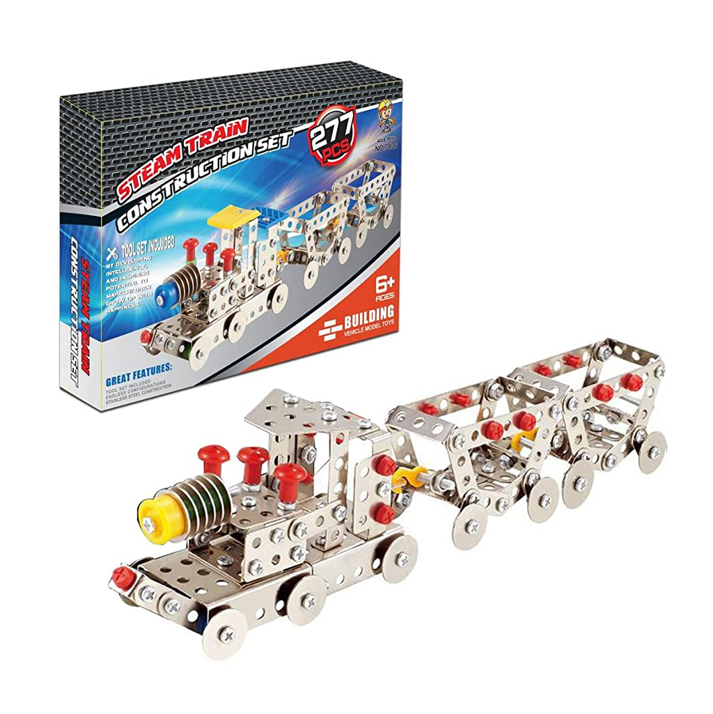 WOTOY Children's Puzzle Metal Building Blocks Toy Disassembly Train Model DIY Assembly Toy